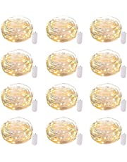 12 Pack Led Fairy Lights Battery Operated String Lights Waterproof Silver Wire 7 Feet 20 Led Firefly Starry Moon Lights for DIY Wedding Party Bedroom Patio Christmas Warm White
