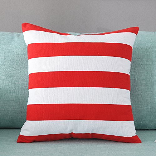 TAOSON Home Decorative Cotton Canvas Square Throw Pillow Cover Cushion Case Stripe Toss Pillowcase with Hidden Zipper Closure Multiple Colors (18