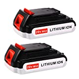 Enegitech 20V Max 2.0Ah Replacement Battery for Black & Decker LBXR2020-OPE LB20 LBXR20 LB2X4020-OPE Cordless Tool Battery 2 Pack