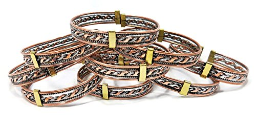 Copper and Silver Spiral Twisted Expandable Bracelet - One Size Fits (Expandable Spiral)