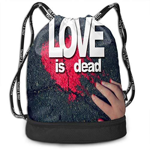 - Sport Unisex Bundle Drawstring Backpack Love Is Dead Travel Durable Large Space Gym Sack Vintage Waterproof Multifunction Drawstring Bag