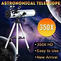 """Specification: Material:Aluminum,ABS plastic,Rubber,Optical glass Aperture: 76mm Focal Length: 700mm Faintest discernable stars: 12.0M! (over 1,000,000 Stars visible!) Dawes Limit: 1.9 arc-seconds Focal Ratio: 1:9 Eyepieces: 31.7mm (1.25"""") Zo..."""