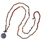 KELITCH Jewelry Handmade Buddha Strand Necklace Agate Beads for Symbolism, 33''