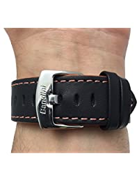 Leather Watch Strap Band, Racer, 24mm, Black with Orange Stitching