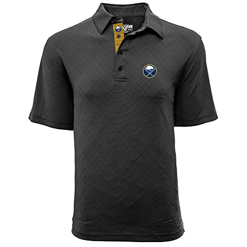 (Levelwear LEY9R NHL Buffalo Sabres Men's Barton Icon Heather Polo T-Shirt, Small, Charcoal)