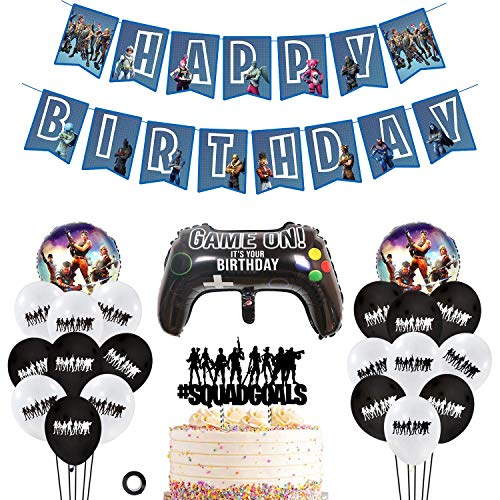 Decembre Video Game Party Supplies Includes Cake Topper - 18 Latex Baloons - 3 Foil Baloons - Unique Happy Birthday Banner Perfect Battle Royale Gamer Decorations Favors for Kids. ()