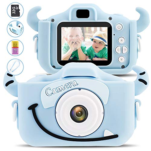 Digital Kids Camera Video Gifts for Girls Boys, 32GB Memory Card Include ,12MP and 1080P HD Mini Child Camcorder with 2 Inch IPS Screen and Games, Shockproof Cameras for outdoorplay, Pink (Blue Niu)