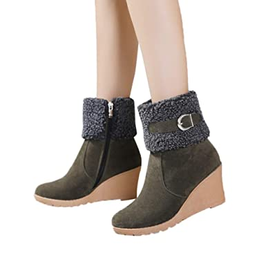 Womens Warm Faux Fur Lined Buckle Zipper Wedge Winter Short Boots Platform Ankle Snow Booties (