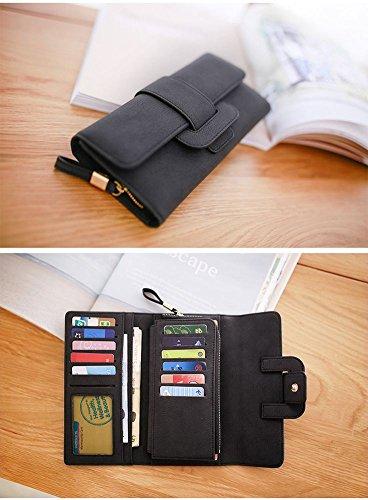 For Badiya Coin Card Pu Long Women Wallets Purses Handbag Clutch Black Leather Holder Gifts p6Pqp
