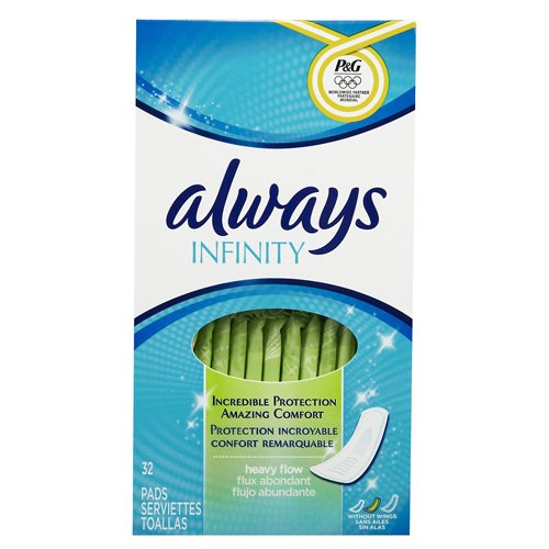 Always Infinity, Pads Without Wings, Heavy, 32 ea (Pack of 36)