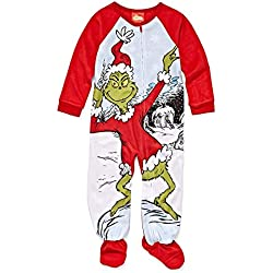 The Grinch Dr. Seuss Toddler Boys Girls Christmas Footed Blanket Sleeper Pajamas (4T, Red/Multi)