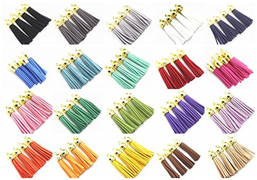 (QIANHAILIZZ Mixed Color Faux Suede Tassel Leather Charm with CCB Cap for Keychain Cellphone Straps Jewelry Charms (40 gold tassel of 2-1/4inch))