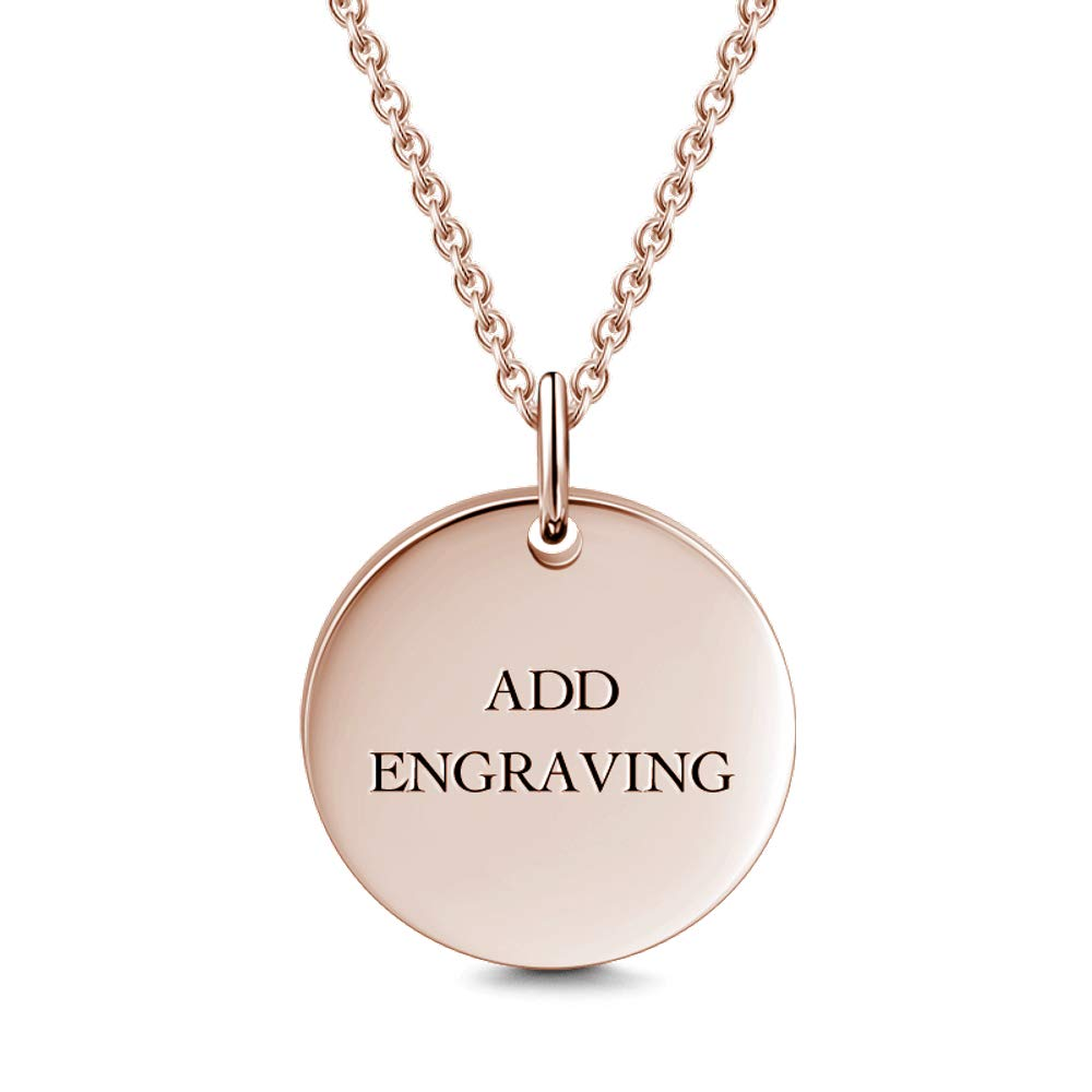 GoCustomNow Engravable Circle Hang Tag Necklace Rose Gold