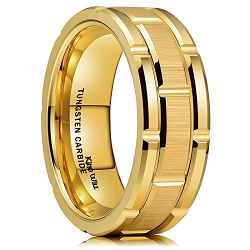 King Will Classic Mens 8mm Gold Plated Tungsten Carbide Wedding Band Brick Pattern Brushed Finish 8.5 ()