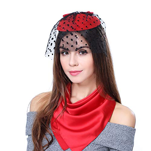 - homy Fascinator Hats Feather Fascinators for Women Pillbox Hat Headband for Wedding Derby Tea Party Race, E - Red Set, Small