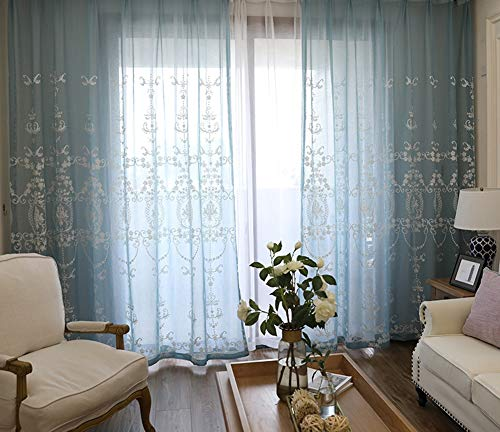Fine Classic Pattern Embroidered Beautiful Europern Style Sheer Curtain Rod Pockets Window Decoration Voile Panel Drape for Living Room Bedroom and Dining Room (1 Panel, W 52 x L 72 inch, Blue)