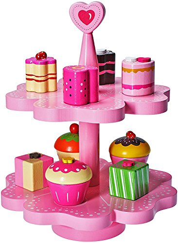 Dragon Drew Tea Set for Little Girls - Wooden Pretend Tea Set Toy - Tea Toy Set- Magnetic Cake Stand -