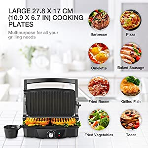 Panini Maker, iSiLER 4 Slice Panini Press Grill, Sandwich Maker Non-Stick Coated Plates, Opens 180 Degrees for Panini