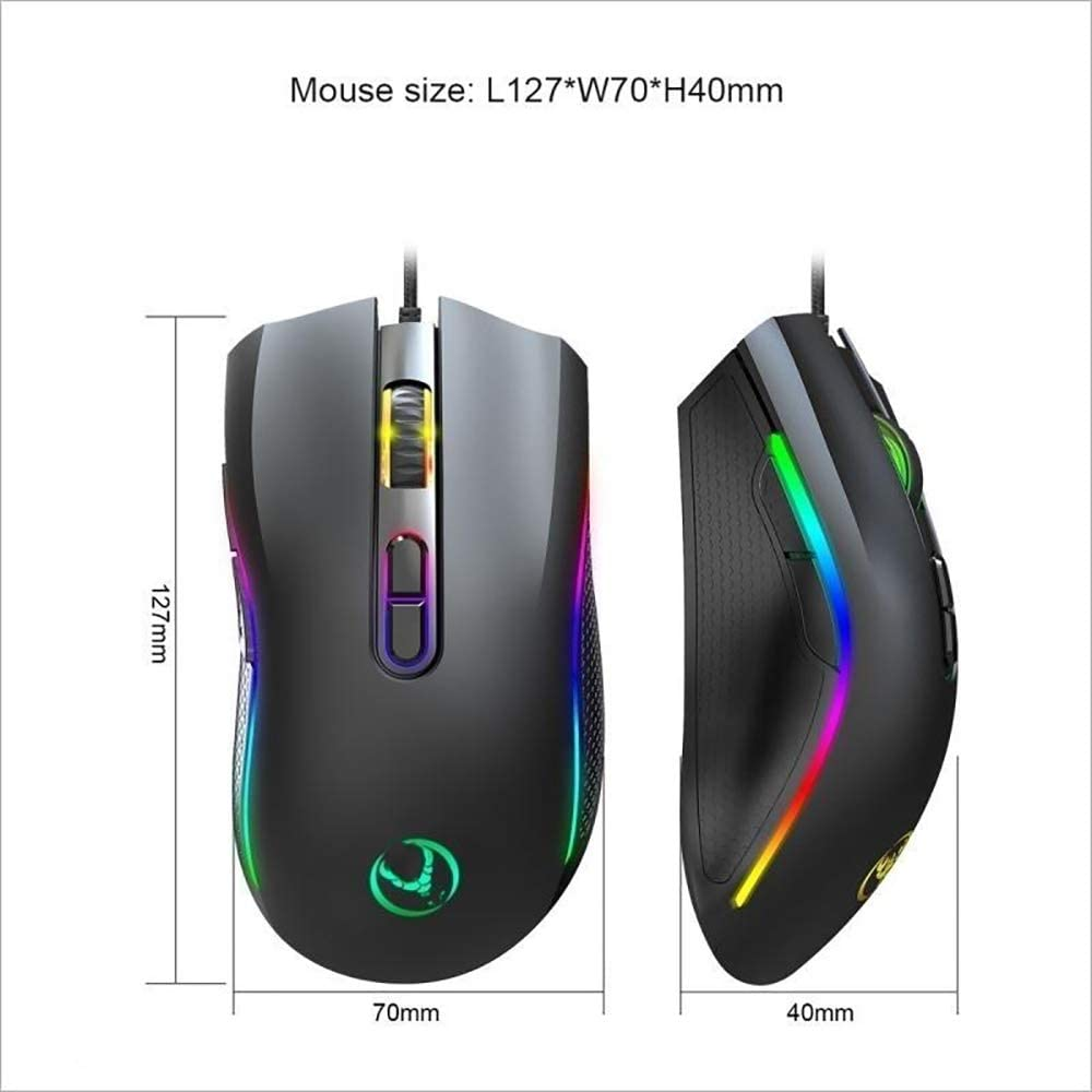 Cable Length 1.5m Gaming Mice KANEED A869RGB 7200 DPI Six-Speed Adjustable 7-Keys Macro Definition Programmable Colorful Light-Emitting Wired Game Optical Mouse