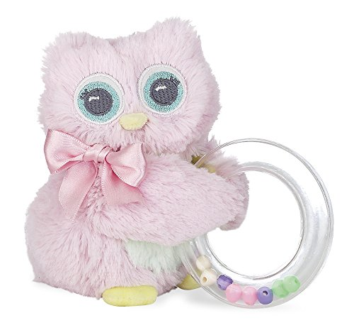 Bearington Baby Lil' Hoots Plush Stuffed Animal Owl Shaker Toy Ring Rattle, -