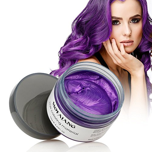 Hair Coloring Wax, Purple Disposable MOFAJANG Instant Matte Hairstyle Mud Cream Hair Pomades for Kids Men Women to Cosplay Nightclub Masquerade Transformation -
