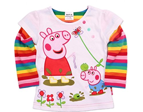 Eowsrzm Little Gril's Spring/Fall T-Shirt,Long Sleeve,White,3t