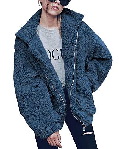 ShallGood Femme Mode Hiver Chaud Peluche Blouson Manteaux Veste Casual Couleur Unie Style De Rue Zipper Manteau Bleu