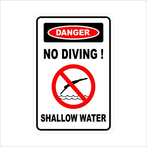- Mentalsign Danger No Diving Shallow Water.Metal Sign Aluminum 8