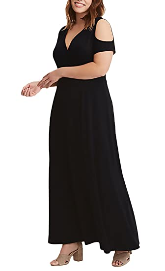 Vestidos Largos De Verano Mujer para Gorda Moda Elegantes Ropa Dama Moderno Manga Corta Hombros Descubiertos V Cuello Talle Alto Vestido Fiesta Vestidos De ...