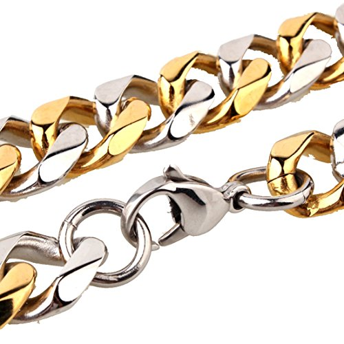 (Innovative jewelry 15mm Wide Silver Gold Tone Men's Stainless Steel Curb Link Chain Necklace Or Bracelet,7-40