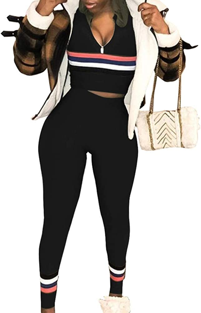 177158563cf5 Women's Sexy 2 Pieces Outfits - Stripe Bodycon Sweatsuits Tracksuits Set  Black