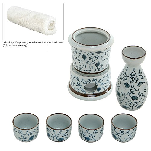 7 Piece Blue Floral Design White Ceramic Japanese Hot Sake