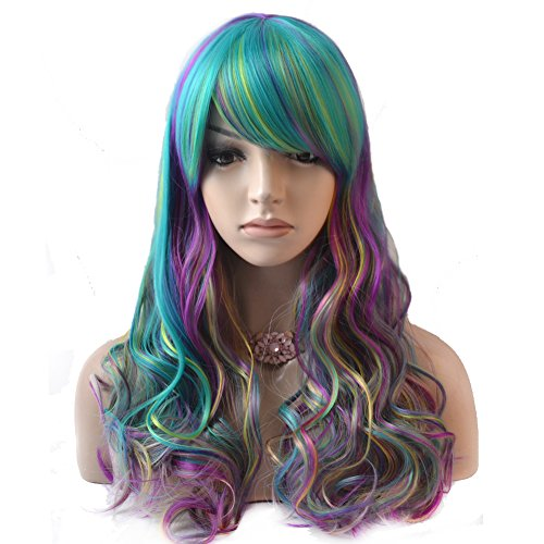 BERON 21.5'' Long Wavy Blue Pastel Rainbow Wig Daily Use or Cosplay (Colorful) -