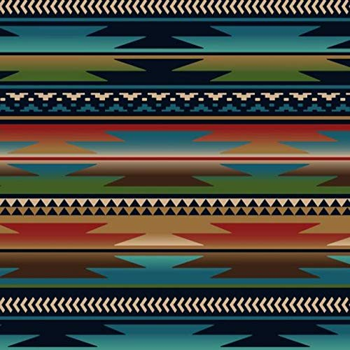 Sunset Stripes Blue Native American Fleece Fabric - 60