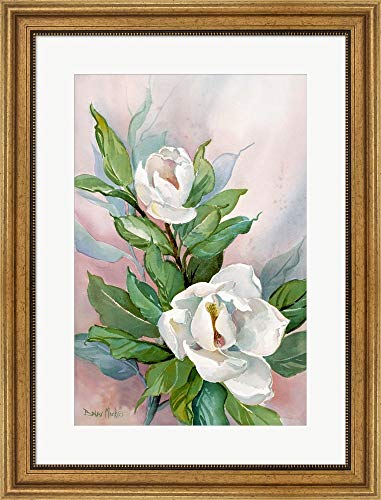 Classic Magnolia B by Barbara Mock Framed Art Print Wall Picture, Wide Gold Frame, 21 x 28 inches