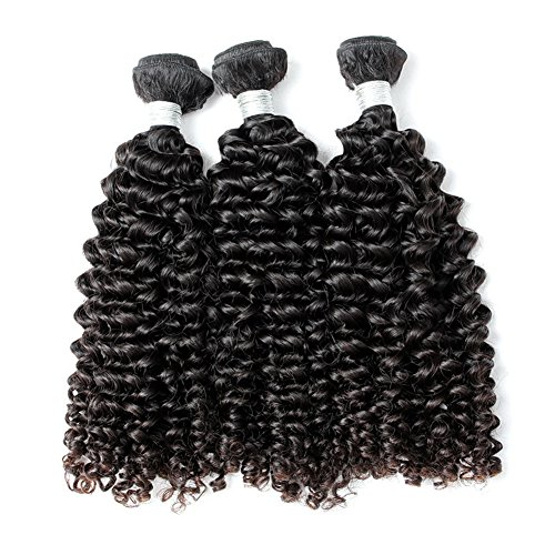 """GoldRose Beauty Grade 5A Remy Human Hair Extensions Curly Wave Malaysian Virgin Hair 100% Unprocessed Deep Curly Hair 100g/Bundle Natural Black Color Mixed Length 26"""" 28"""" 30"""" Pack of 3 Bundles 300grams"""
