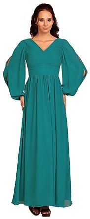 My Evening Dress - Vestido gasa fiesta dama de honor manga larga Turquesa 36