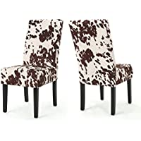 Pergatta Contemporary Milk Cow New Velvet Dining Chair (Set of 2)