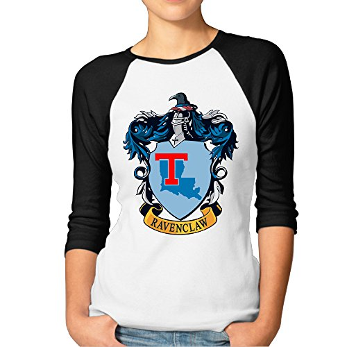 [PKTWO Louisiana Tech University Ravenclaw Crest Women's T-shirt 3/4 Sleeve Tee Black S] (Ravenclaw Mascot)