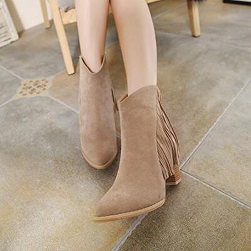 Trendy Women's Aisun Chunky Zipper Brown Ankle Frosted Heels Fringe Mid Boots 77A5xwdrRn
