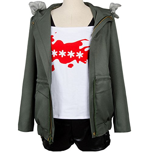 Ya-cos Persona 5 Futaba Sakura Cosplay Costume A.F.K. Logo Casual Coat Jacket Shirt Tee Suit Dress Up,Green,Female Large