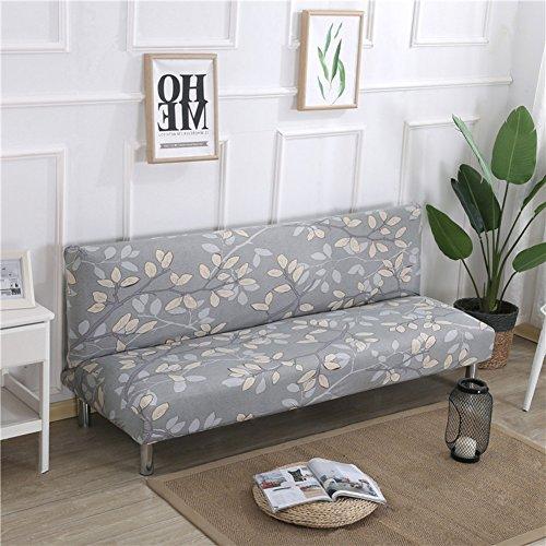 (Redsun Armless Sofa slipcover Stretch, Printed Floral Sofa Cover Futon Sofa Bed Cover Elastic Folding Couch Sofa Shield -W M)