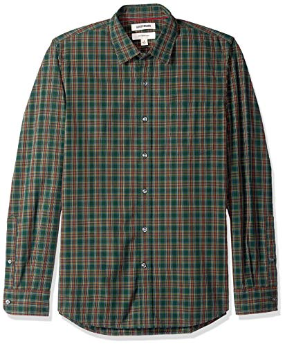 - Goodthreads Men's Slim-Fit Long-Sleeve Poplin Plaid Shirt, Green/Burgundy, Small