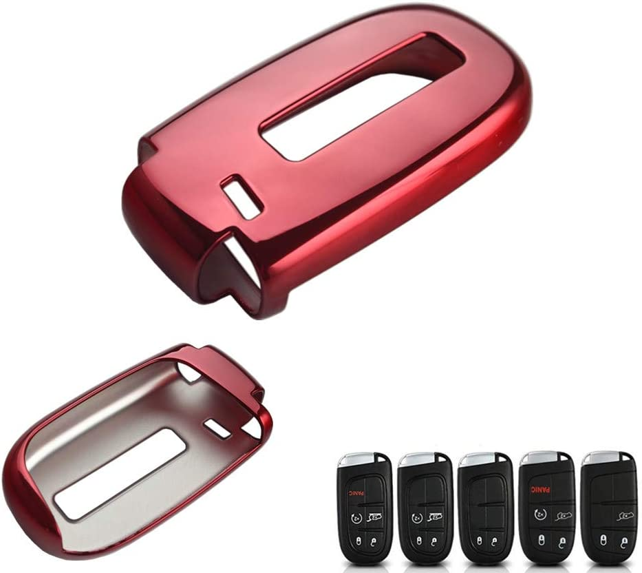 DEWHEL TPU Key Fob Protective Cover Case for Dodge Charger Challenger Dart Durango Journey, Chrysler 200 300, Jeep Grand Cherokee, Renegade etc (Chrome Red)