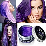 Bleaching Hair Before Dying Purple - Plovex Color Hair Wax Styling Pomade Silver Grandma Grey Temporary Hair Dye Disposable Fashion Molding Coloring Mud Cream (Purple)