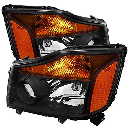 (Carpartsinnovate For Nissan 04-15 Titan 04-07 Armada Black Headlights Head Lights Lamps Pair)