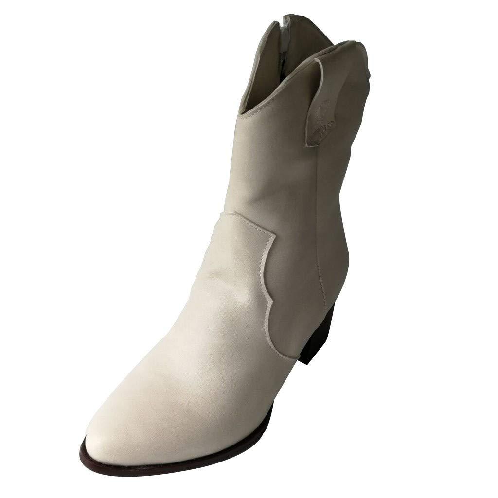 LILIGOD Damen Vintage Leder Booties Blockabsatz Lederstiefel Stiefeletten Winterstiefel mit Reißverschluss rutschfeste Komfort High-Heels Kurze Stiefel Freizeitschuhe