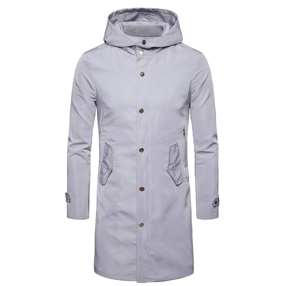 Men Winter Coat Sale Button Long Trench Cardigan Long Sleeve Windproof Waterproof Jacket