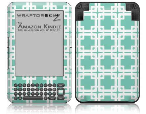 Boxed Seafoam Green - Decal Style Skin fits Amazon Kindle 3 Keyboard (with 6 inch display)