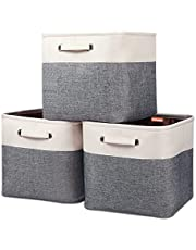 "Kntiwiwo Large Storage Cubes 13"" x 13"" x 13"" Foldable Storage Bin Closet Organizers and Storage Basket w/Handles for Organizing Shelf Nursery Home Closet - Set of 3"